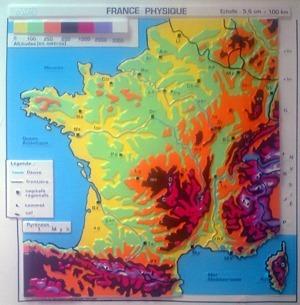 Carte de France en relief